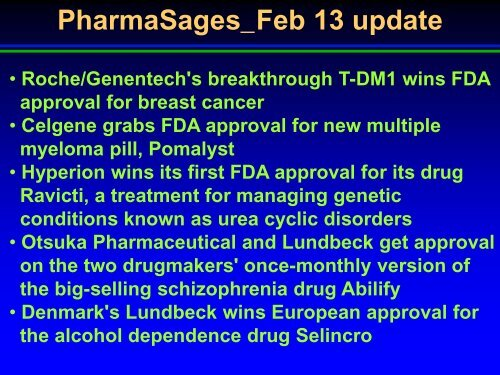 FDA approved drugs in Feb , 2013