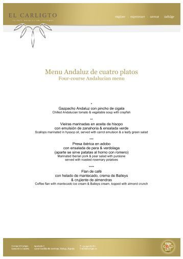 Menu Andaluz de cuatro platos