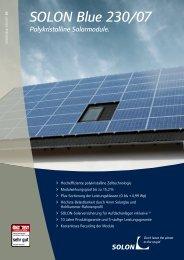 SOLON Blue 230/07 Polykristalline Solarmodule. - IWS Solar AG