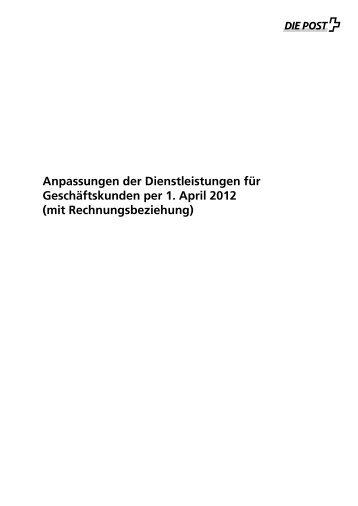 Anpassungen der Dienstleistungen für Geschäftskunden per 1. April ...