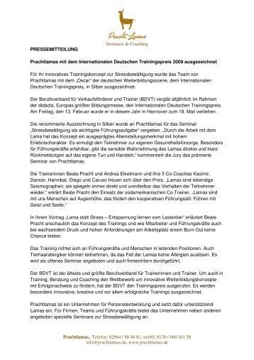 Prachtlamas gewinnt Silber beim Int. Dt. Trainingspreis 2009