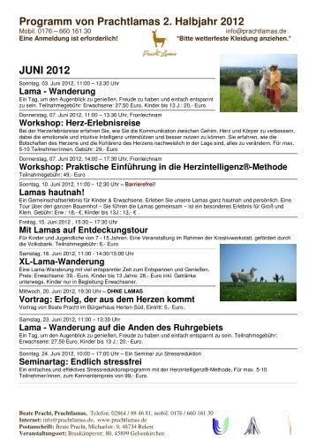 Programm von Prachtlamas 2. Halbjahr 2012