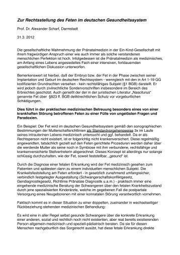 Zur Rechtsstellung des Feten im deutschen Gesundheitsystem