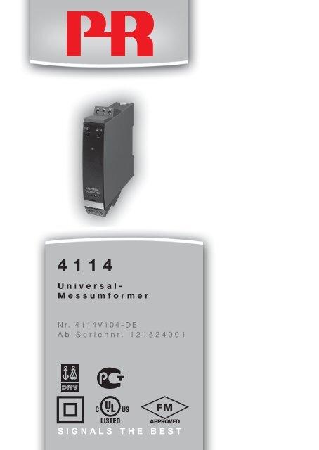 SIGNALS THE BEST Universal- Messumformer - PR electronics