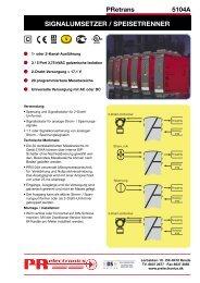 SIGNALUMSETZER / SPEISETRENNER - PR electronics