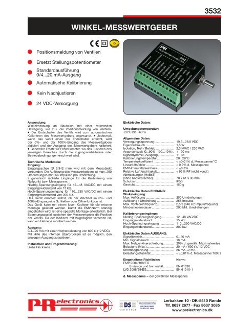 WINKEL-MESSWERTGEBER - PR electronics