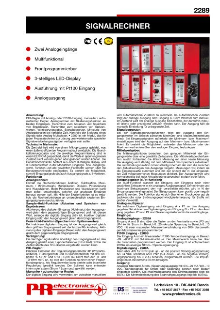 SIGNALRECHNER - PR electronics