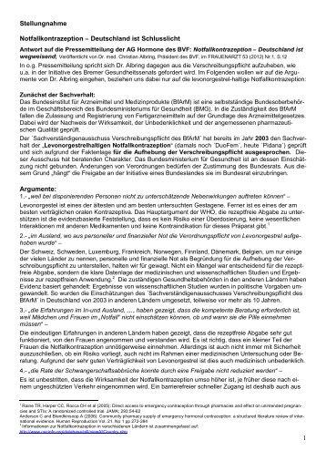 1 Stellungnahme Notfallkontrazeption – Deutschland ... - Pro Familia