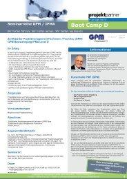 Kompakt Seminar - Boot Camp D - projektpartner management GmbH