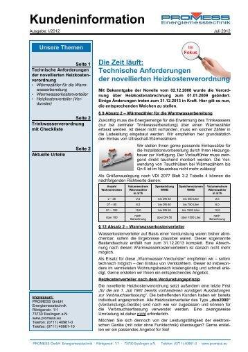 Kundeninformation 07/2012 - PROMESS GmbH