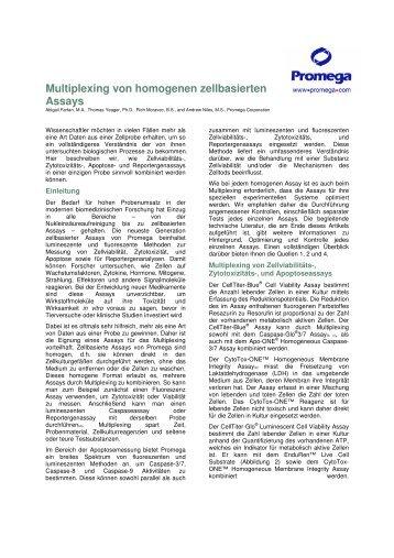 Multiplexing von homogenen zellbasierten Assays - Promega