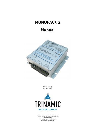 MONOPACK 2 Manual - Pro/Motion Mechanik + Elektronik + Software