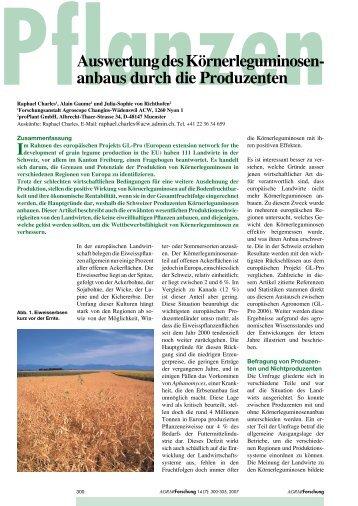 Auswertung des Körnerleguminosen- anbaus durch die Produzenten