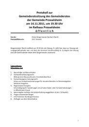 Protokoll zur Gemeinderatssitzung des ... - Prosselsheim