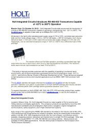 Holt Integrated Circuits Introduces RS-485/422 Transceivers ...