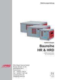 Bedienungsanleitung Heißkanalregler HR/HRD -  psg-online.de