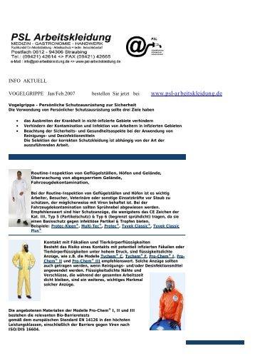 INFO VOGELGRIPPE< aktuell - PSL Arbeitskleidung