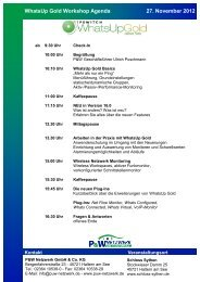 Agenda WhatsUp Gold Workshop - P&W Netzwerk GmbH & Co KG ...