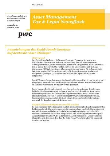 Asset Management Tax & Legal Newsflash, Ausgabe 2, August 2011