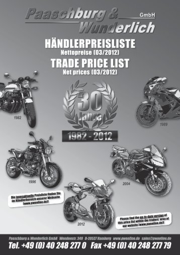 HÄNDLERPREISLISTE TRADE PRICE LIST