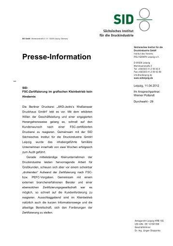 SID:FSC-Zertifizierung im grafischen Kleinbetrieb kein Hindernis