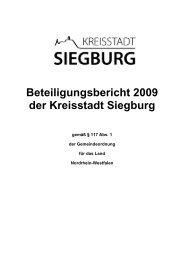 Beteiligungsbericht 2009 der Kreisstadt Siegburg