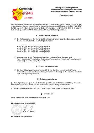 1 Verkaufsoffene Sonntage - Gemeinde Siegelsbach