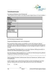Teilnahmeformular - Heinz Sielmann Stiftung