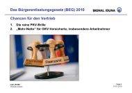 Chancen für den Vertrieb Das Bürgerentlastungsgesetz (BEG) 2010