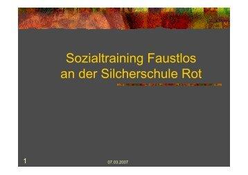 Sozialtraining Faustlos an der Silcherschule Rot