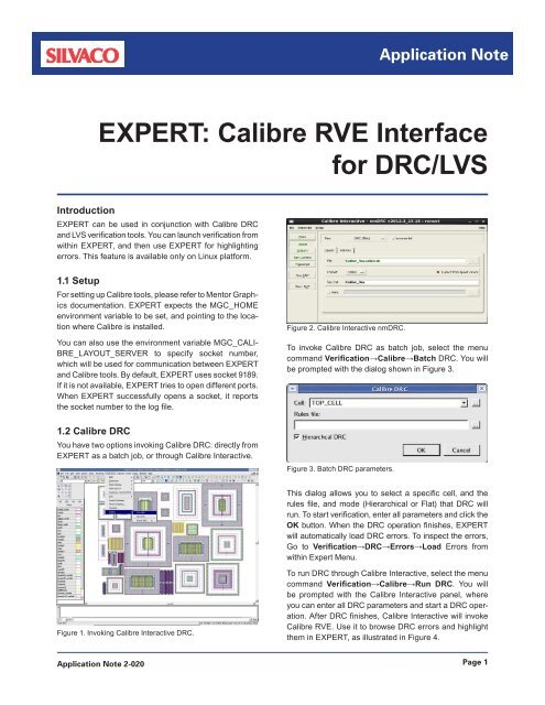EXPERT: Calibre RVE Interface for DRC/LVS - Silvaco