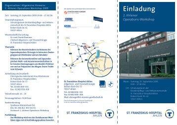 Einladung - St. Franziskus-Hospital Ahlen