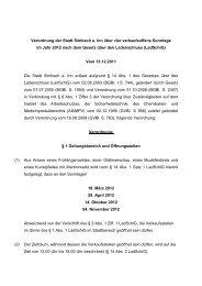 Verordnung verkaufsoffene Sonntage 2012 - Simbach am Inn