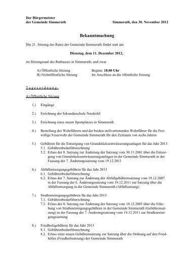 GR 21. Bekanntmachung 11122012 - Gemeinde Simmerath