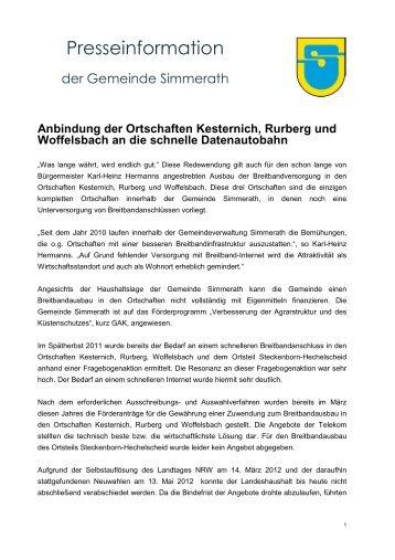 Pressemitteilung - Gemeinde Simmerath
