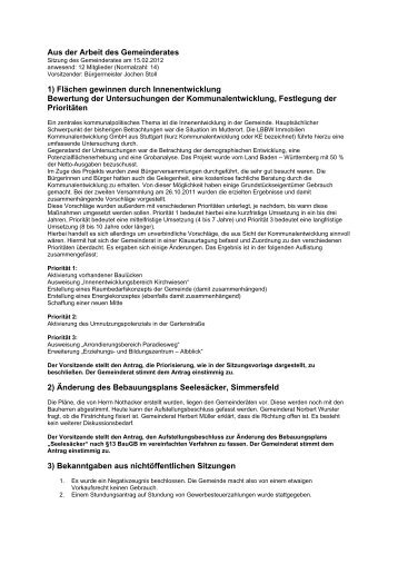 Protokoll der Gemeinderatssitzung vom 15.02.2012 - Simmersfeld