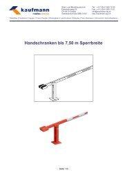 Handschranken bis 7,50 m Sperrbreite - Kaufmann AG