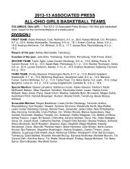 2012-13 ASSOCIATED PRESS ALL-OHIO GIRLS BASKETBALL TEAMS