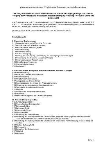 Wasserversorgungssatzung (PDF) - Gemeinde Simonswald