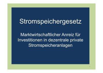 Stromspeichergesetz - marktwirtschaftlicher Ansatz - SFV