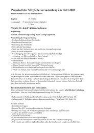 Protokoll zur SFV-Mitgliederversammlung 2001