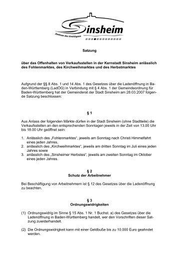Offenhalten von Verkaufsstellen - Satzung.pdf - Stadt Sinsheim