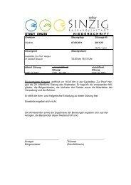Niederschrift der Stadtratssitzung vom 07.09.2011 - Sinzig