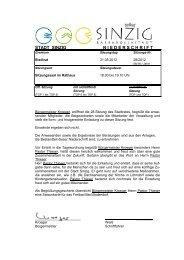 Niederschrift der Stadtratssitzung vom 31.05.2012 - Sinzig