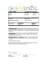 Niederschrift der Stadtratssitzung vom 01.09.2011 - Sinzig