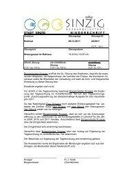 Niederschrift der Stadtratssitzung vom 08.12.2011 - Sinzig