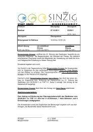 Niederschrift der Stadtratssitzung vom 27.10.2011 - Sinzig
