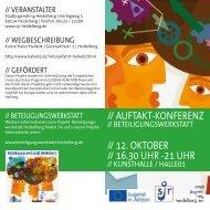 // AuftAkt-konferenz // 12. oktoBer // 16.30 uhr -21 uhr