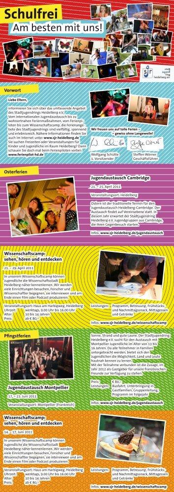 Informationsflyer Ferienangebote 2011 - Stadtjugendring Heidelberg