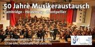 50 Jahre Musikeraustausch - Stadtjugendring Heidelberg